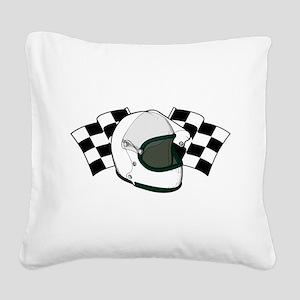 Helmet & Flags Square Canvas Pillow