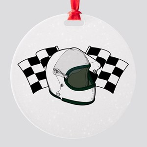 Helmet & Flags Round Ornament