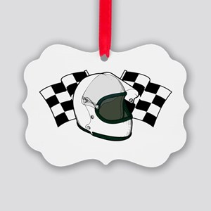 Helmet & Flags Picture Ornament