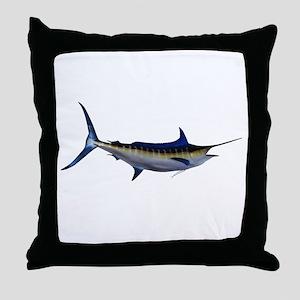 Blue Marlin Fish Throw Pillow