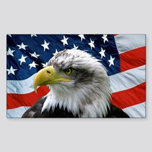 American Flag behind Bald Eagle Oval Sticker