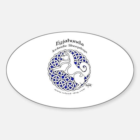 Eyjahunda Logo White Background Sticker (Oval)