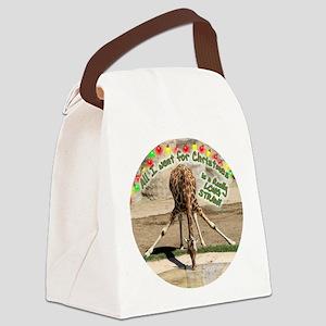 XmasDrinkingGiraffeCir Canvas Lunch Bag