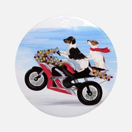 Jack Russells on a motorcycle Ornament (Round)
