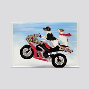 Jack Russells on a motorcycle Rectangle Magnet