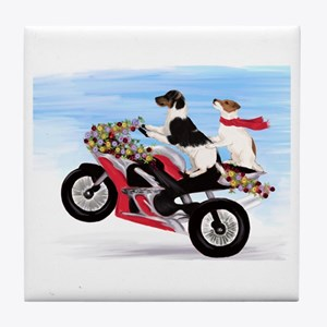 Jack Russells on a motorcycle Tile Coaster