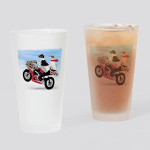 Jack Russells on a motorcycle Drinking Glass