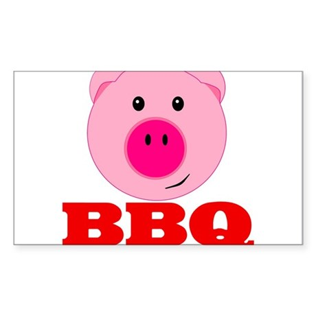 Pink Pig Red BBQ Sticker (Rectangle)