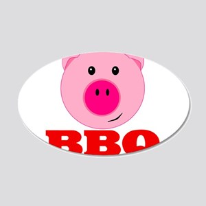 Pink Pig Red BBQ 20x12 Oval Wall Decal