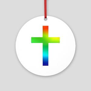 Rainbow cross Ornament (Round)