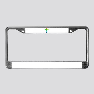 Rainbow cross License Plate Frame