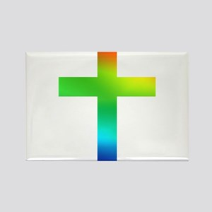 Rainbow cross Rectangle Magnet