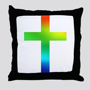 Rainbow cross Throw Pillow