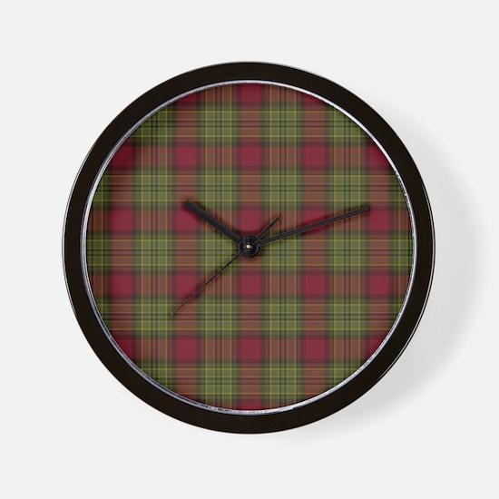 Red Green Tartan Wall Clock