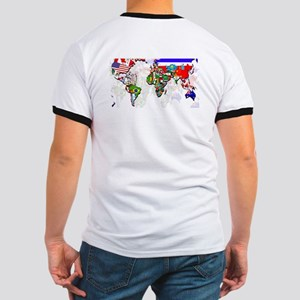 World Flag Map Ringer T