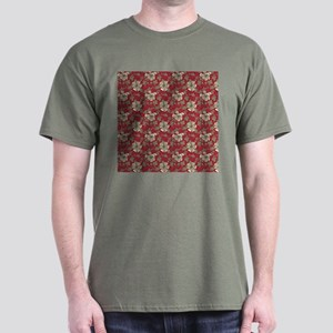 Retro Red Floral Dark T-Shirt