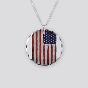 American flag Retro Vintage Necklace Circle Charm