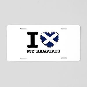 I Love Bag Pipes Aluminum License Plate