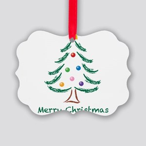 Merry Christmas Tree Picture Ornament