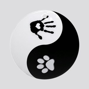 Dog Paw Print & Handprint Yin Yang Ornament (R