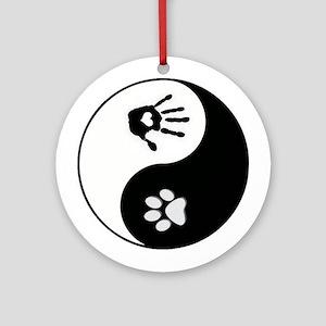 Dog Paw Print & Handprint Yin Yang Ornament (R