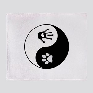 Dog Paw Print & Handprint Yin Yang Throw Blanket