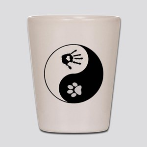 Dog Paw Print & Handprint Yin Yang Shot Glass