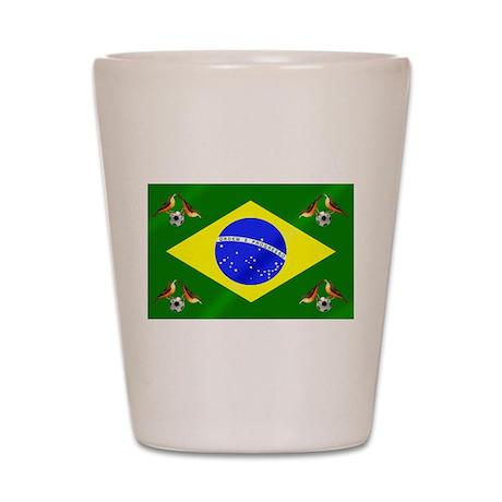 Brazil Football Flag Shot Glass