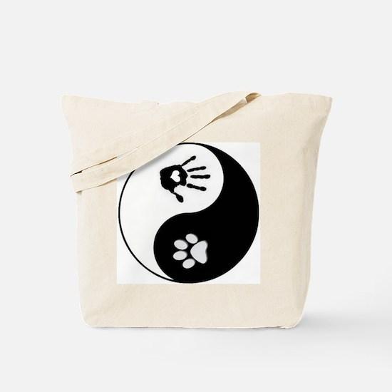 Dog Paw Print & Human Hand Yin Yang Tote Bag