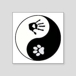 Dog Paw Print & Handprint Yin Yang Square Stic