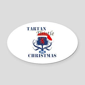 Blue Tartan Thistle Christmas Oval Car Magnet
