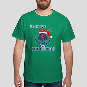 Blue Tartan Thistle Christmas Dark T-Shirt