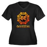 Ganesha bonji Women's Plus Size V-Neck Dark T-Shir
