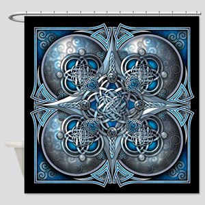 Silver & Blue Celtic Tapestry Shower Curtain