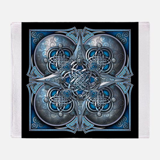 Silver & Blue Celtic Tapestry Throw Blanket