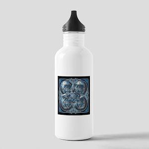Silver & Blue Celtic Tapestry Stainless Water Bott