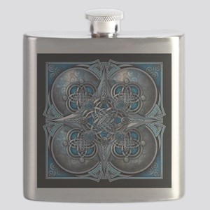 Silver & Blue Celtic Tapestry Flask