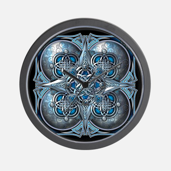 Silver & Blue Celtic Tapestry Wall Clock