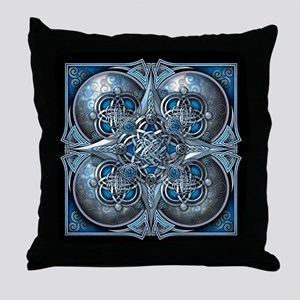 Silver & Blue Celtic Tapestry Throw Pillow