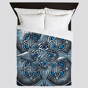 Silver & Blue Celtic Tapestry Queen Duvet