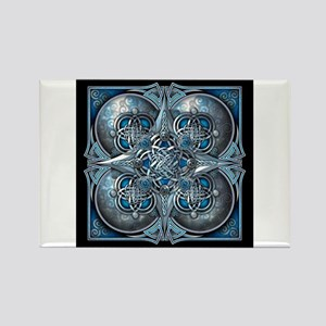 Silver & Blue Celtic Tapestry Rectangle Magnet