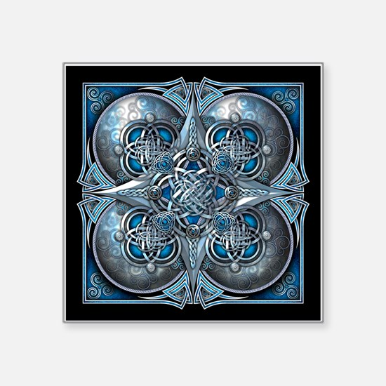 "Silver & Blue Celtic Tapestry Square Sticker 3"" x"