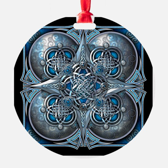 Silver & Blue Celtic Tapestry Ornament