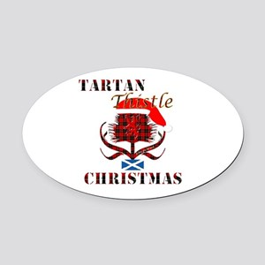 Red Tartan Thistle Christmas Oval Car Magnet