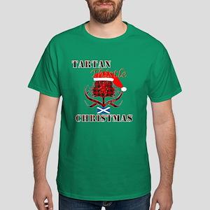 Red Tartan Thistle Christmas Dark T-Shirt