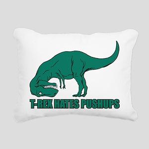 T-Rex Hates Pushups Rectangular Canvas Pillow