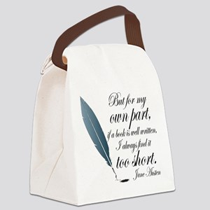 Jane Austen Book Quote Canvas Lunch Bag