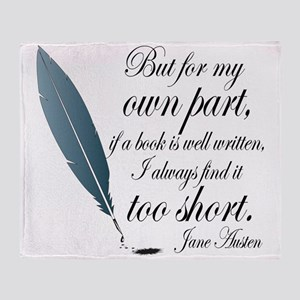 Jane Austen Book Quote Throw Blanket