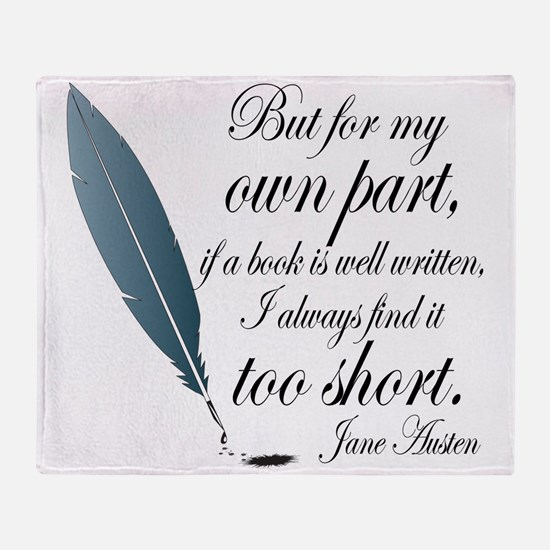 Jane Austen Book Quote Throw Blanket