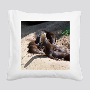 otters5 Square Canvas Pillow